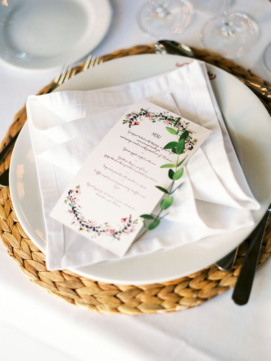 flower accented menu