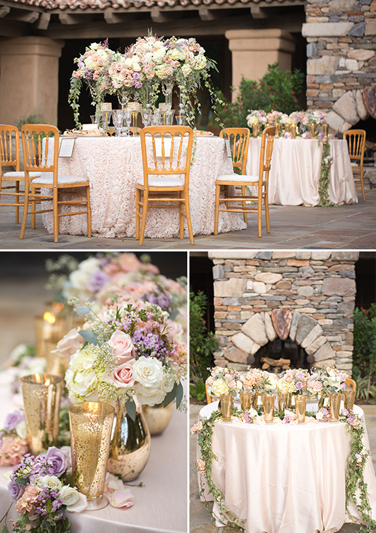 gold pink and purple formal reception decor