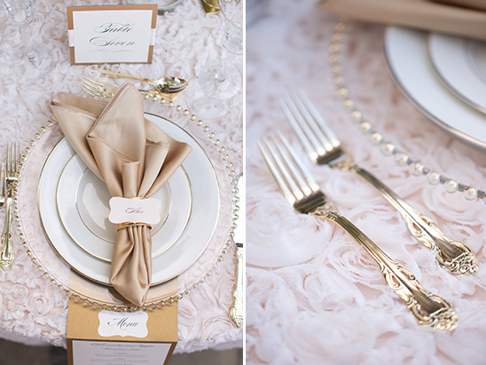 gold flatware and classy table setting