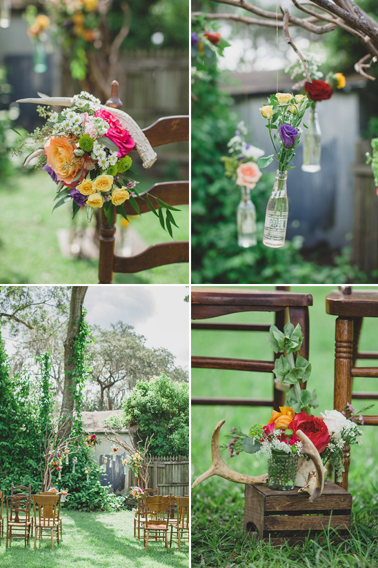rustic homemade backyard wedding ceremony