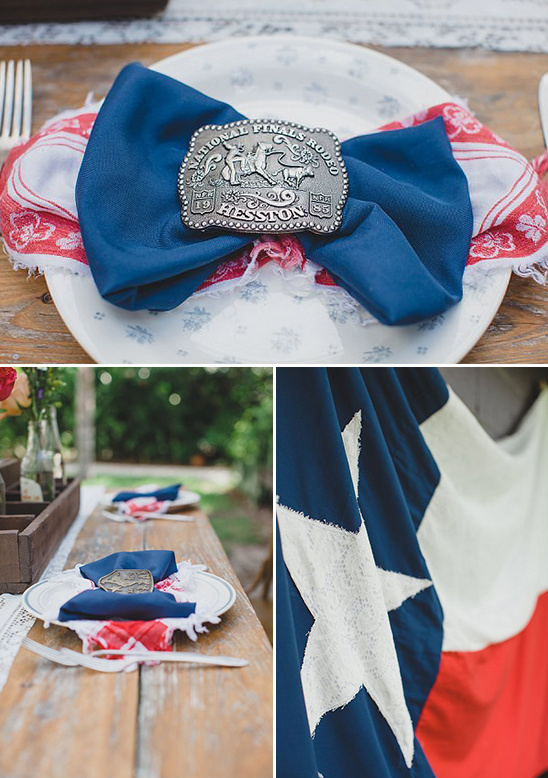 lone star wedding decor with rodeo belt buckle napkin rings