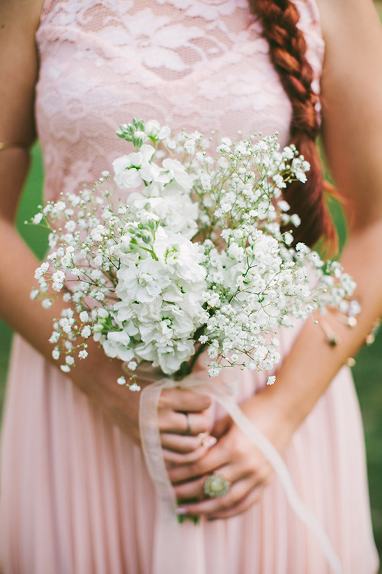 white stock and babys breath bouquet