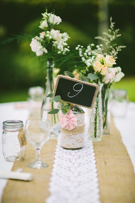 burlap and lace centerpieces