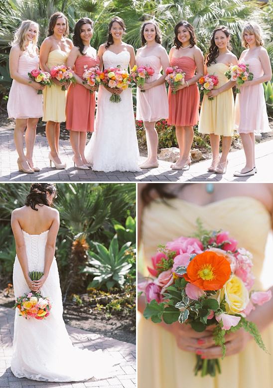 pink and yellow bridesmaids