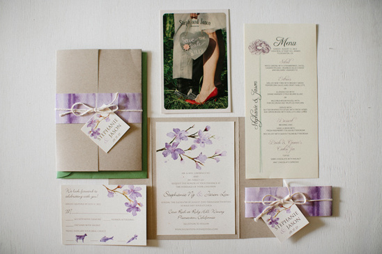 purple watercolor flower invitations