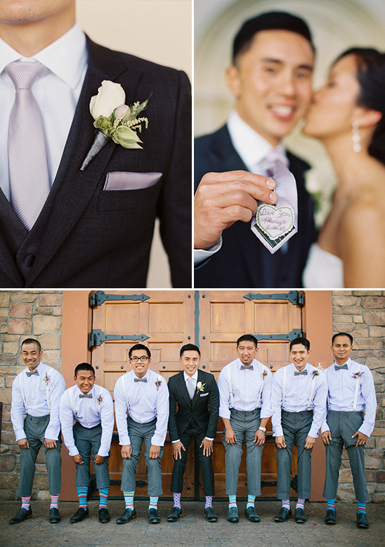 cute tie patch and modern groom attire
