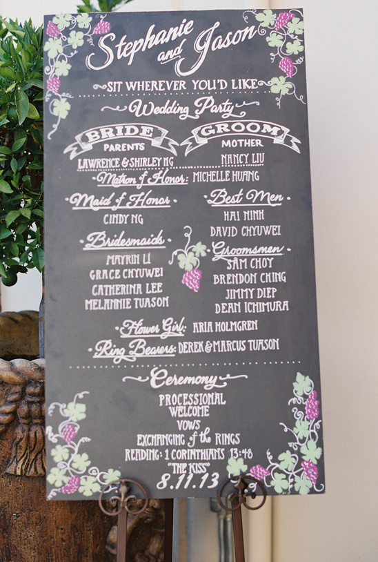 grape vine accented wedding program sign