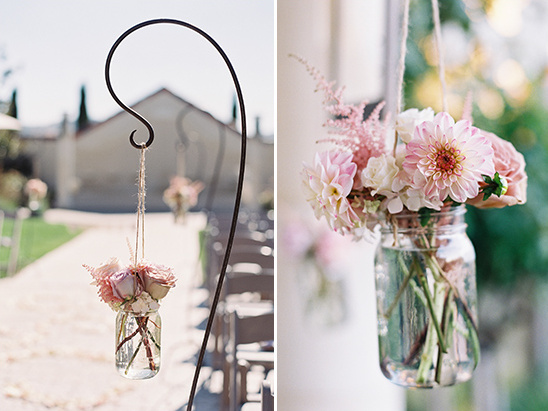 hanging flower aisle decor