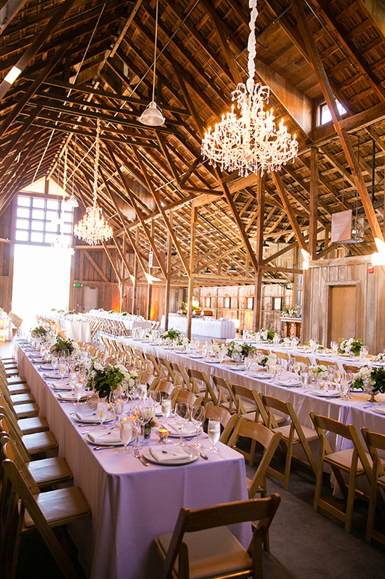 chandeliere lit barn reception