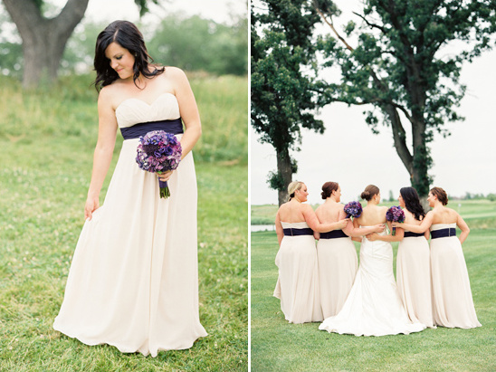 cream and deep purple bridesmaids