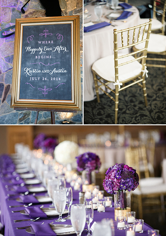 purple and gold reception decor