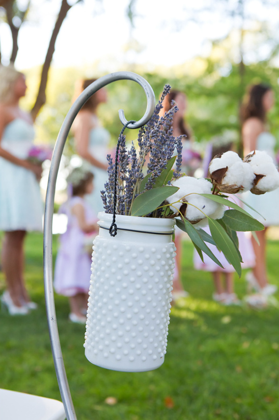 hanging textured milk glass vase with cotton and lavender bouquet