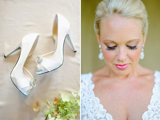 white wedding shoes and glam wedding makeup