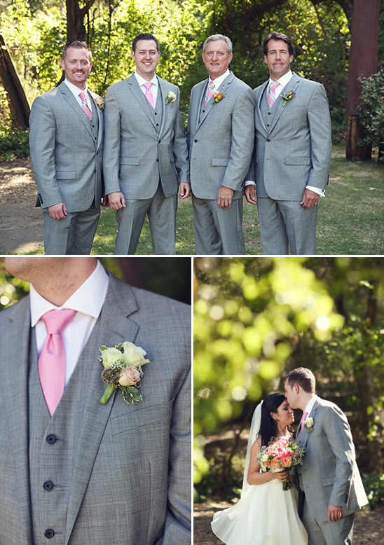 grey and pink groomsmen