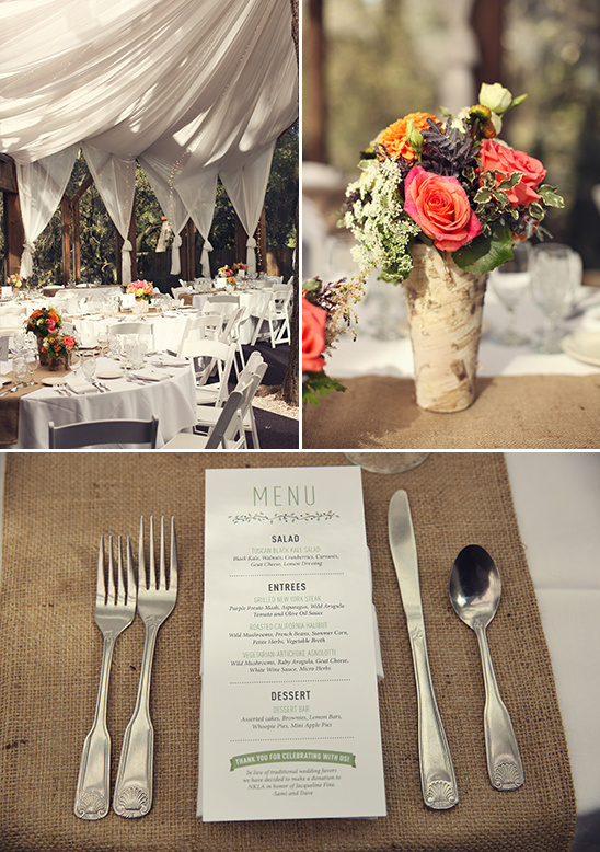 fabric drapped reception and simple menu