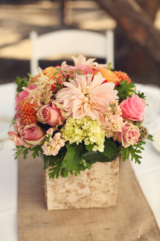 pink flower box centerpiece