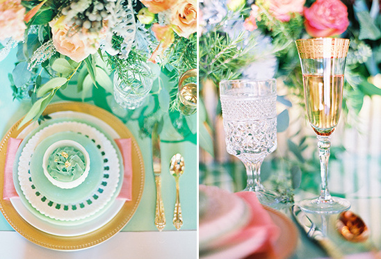 gold and mint reception ideas