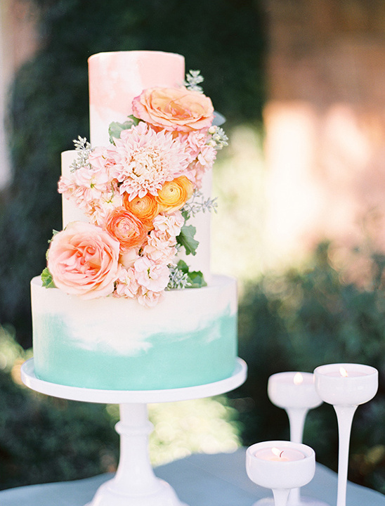 mint and blush painted cake