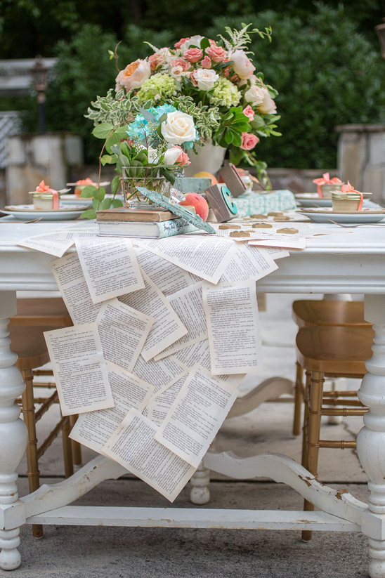 vintage book page table runner
