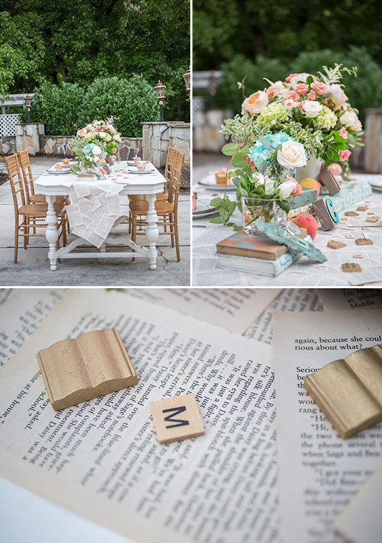 sweet book page table decor
