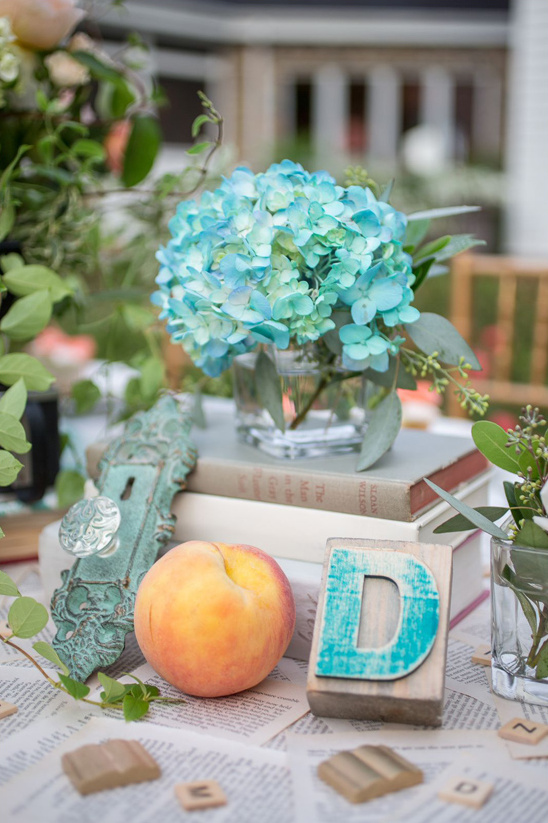 blue hydrangea and vintage decor