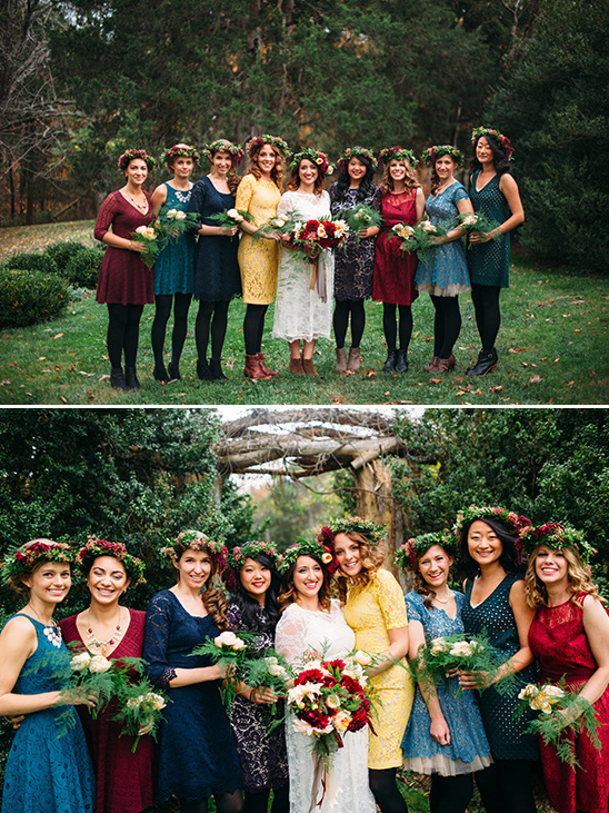 mix and matched bridal party