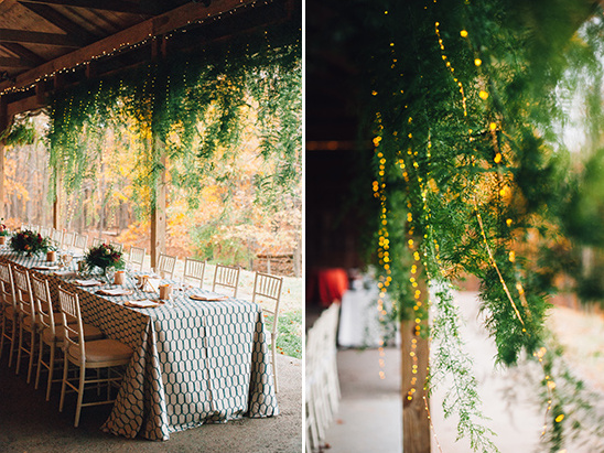 twinkle lights lit hanging greenery