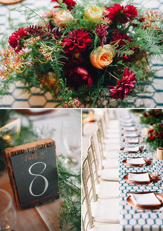 fall inspired centerpiece and wood plank table number
