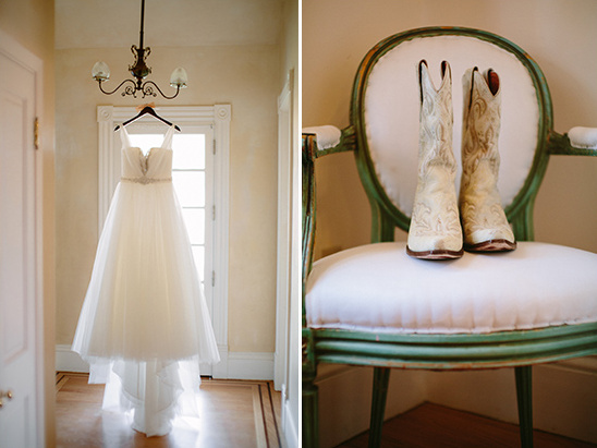 classic wedding gown with white cowboy boots