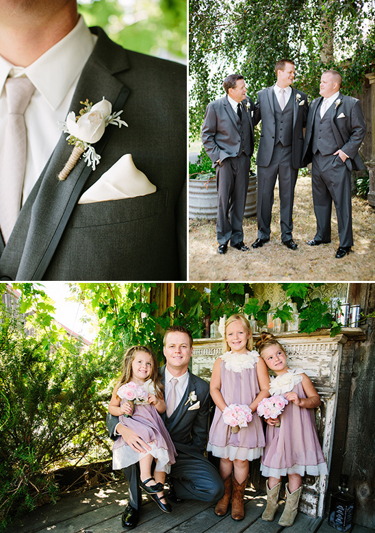 classy groom look and adorable purple flower girls