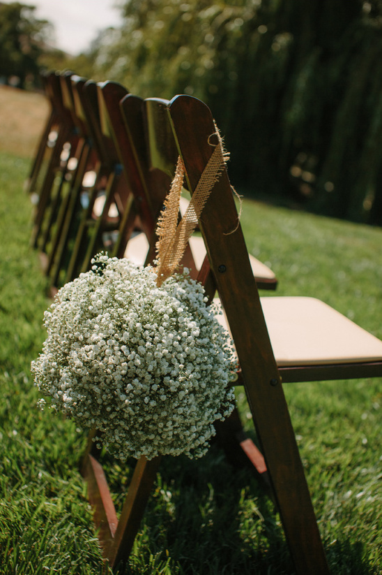 babys breath ball aisle decor