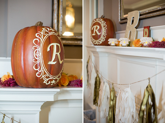 carved wedding monogram pumpkin