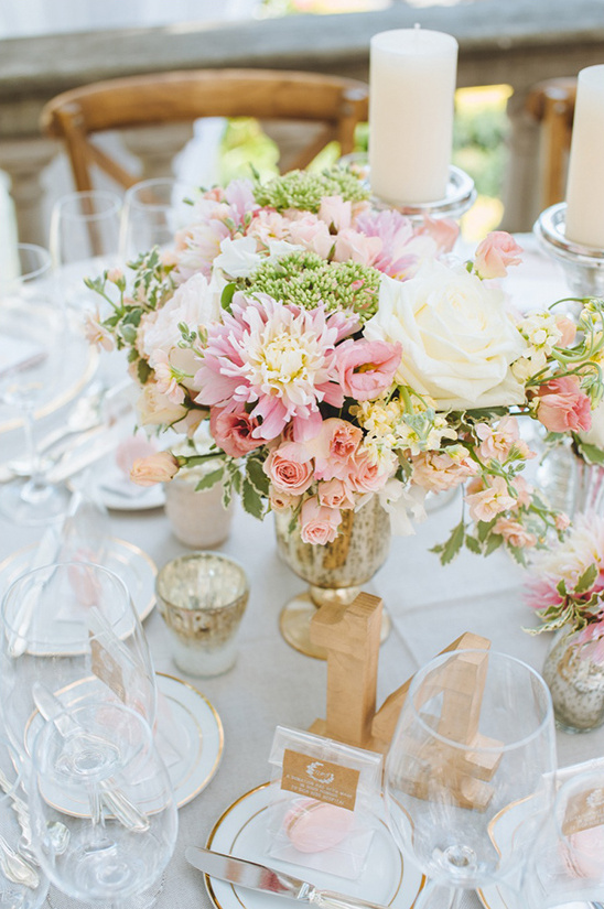 bright pink and peach floral centerpieces