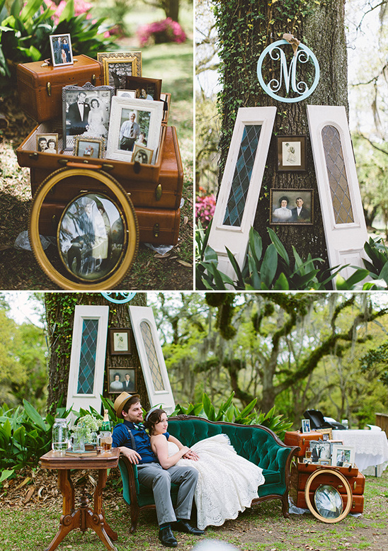 family photo display and outdoor lounge