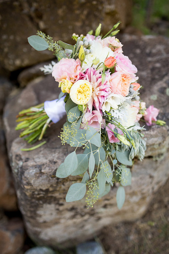 pink and green wedding bouquet designed by B Cazwells Floral Dezines