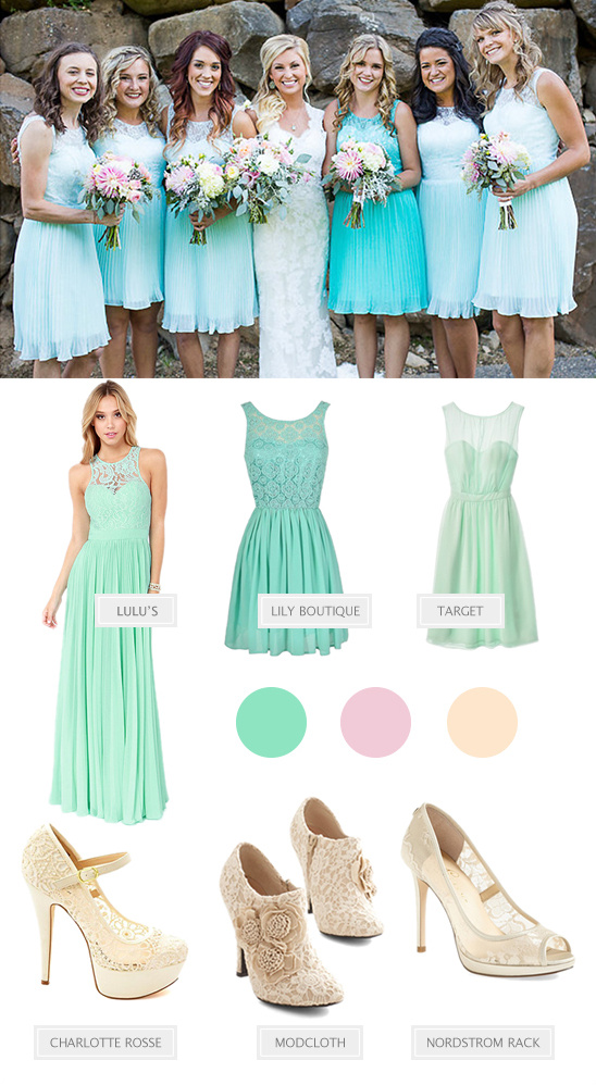 mint bridesmaid looks