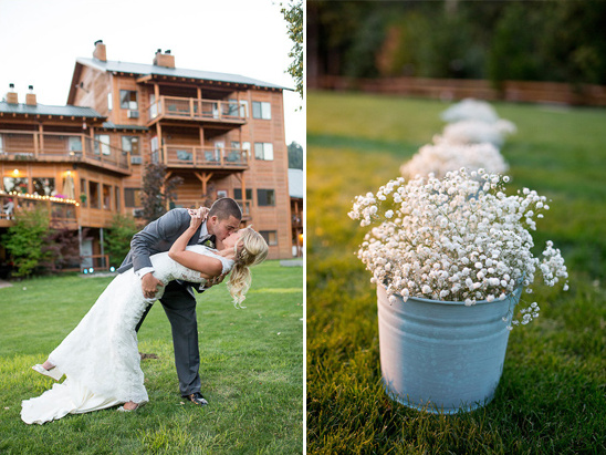 babys breath arrangements and wedding kiss