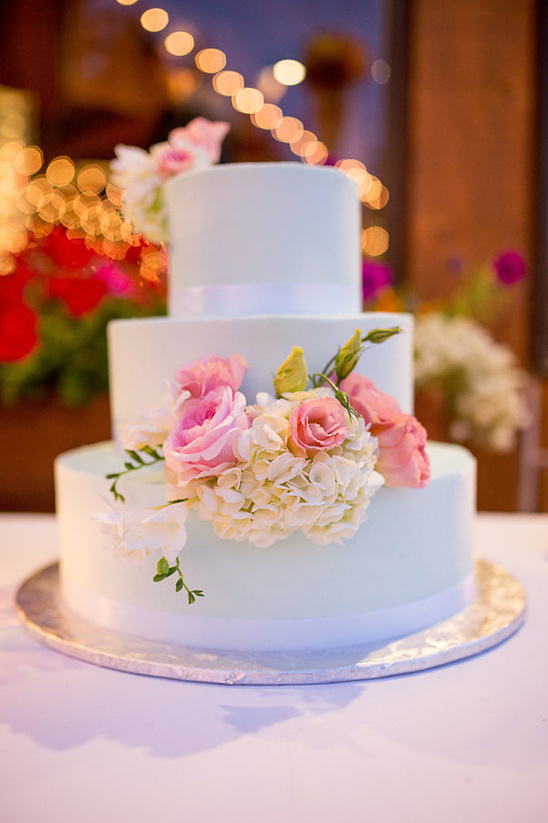 simple floral accented wedding cake