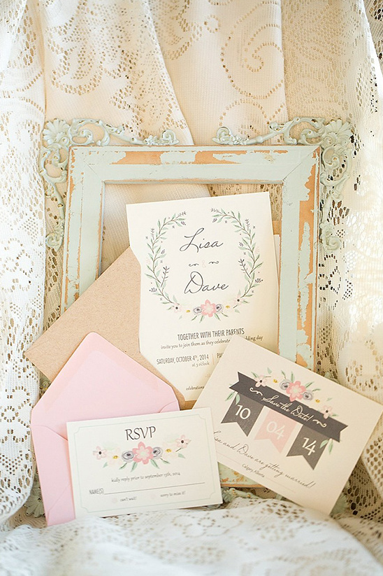 sweet pastel wedding stationery