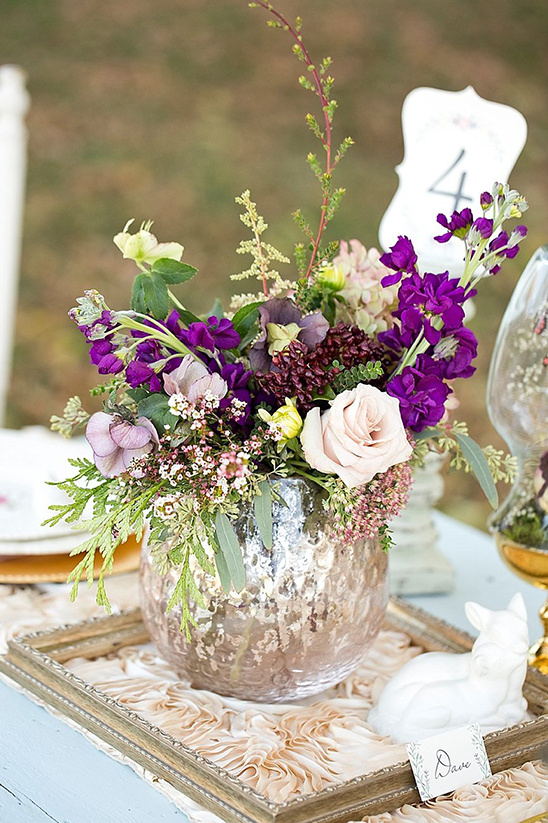 purple and blush floral centerpiece