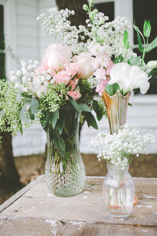 mismatched flower vases
