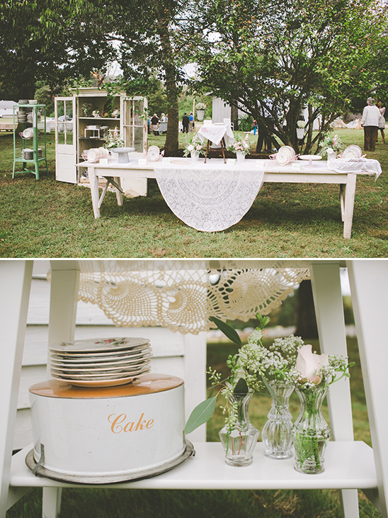 vintage teaparty reception decor