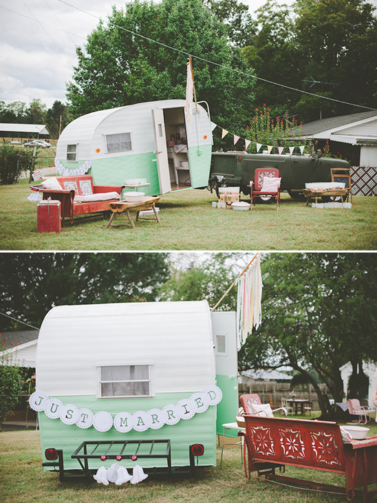 cute ultra light wedding trailer