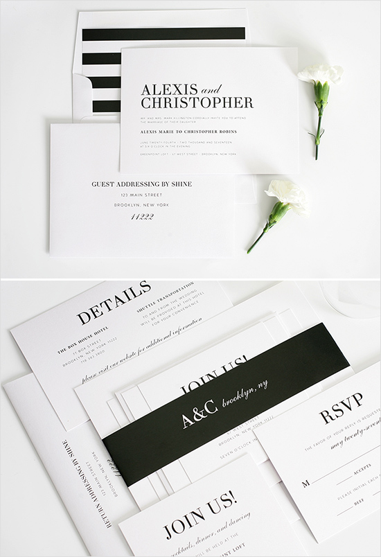 black and white wedding invite from shine wedding invitations