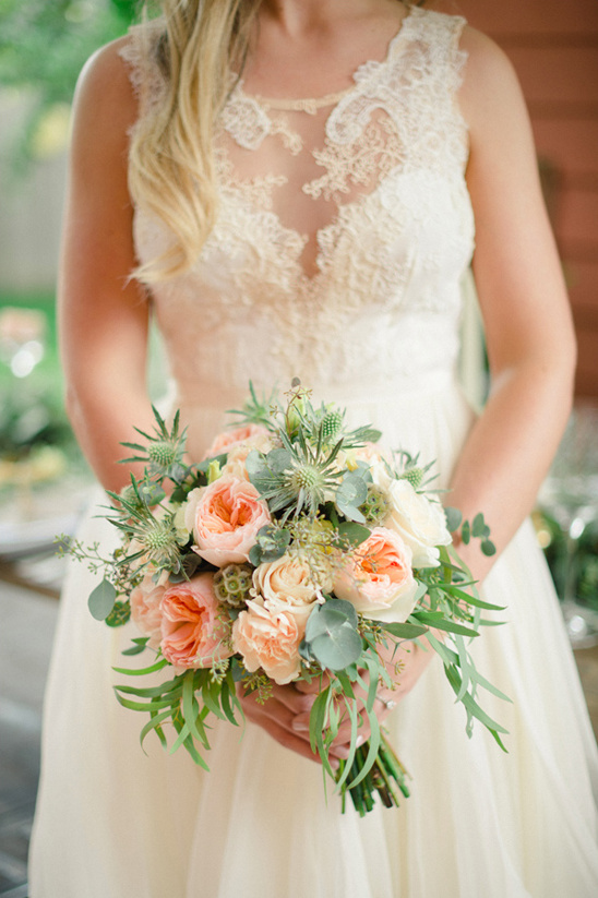 garden rose and thistle bouquet