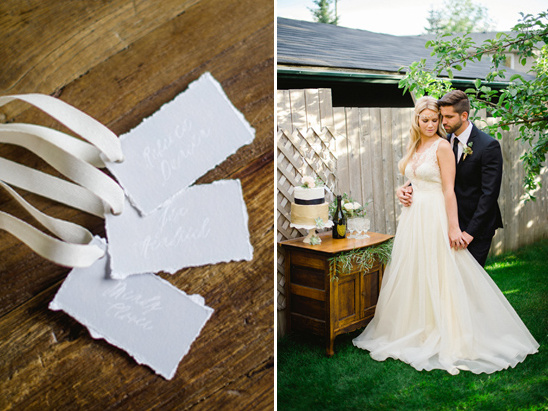 ribbon tied raw paper escort cards