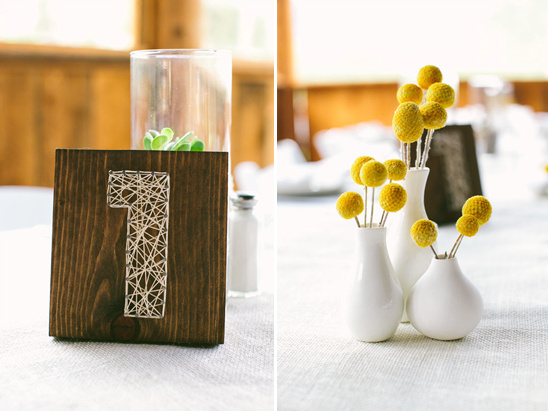 string art table number and billy ball centerpiece
