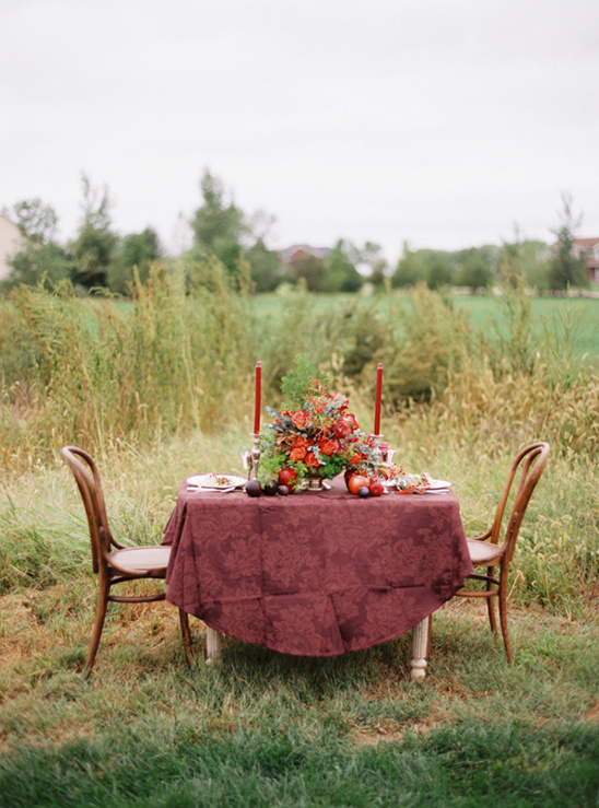 gold and red fall reception