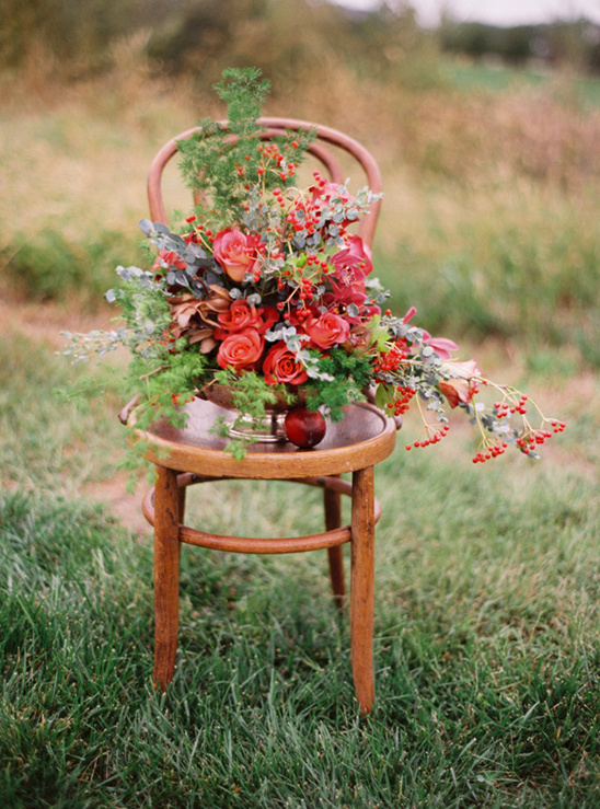 red and green floral centerpiece