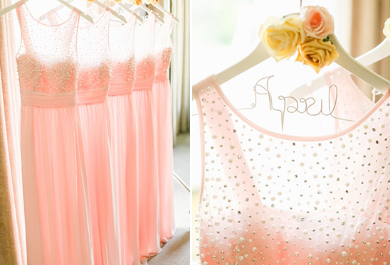 pearl and blush bridesmaids dresses